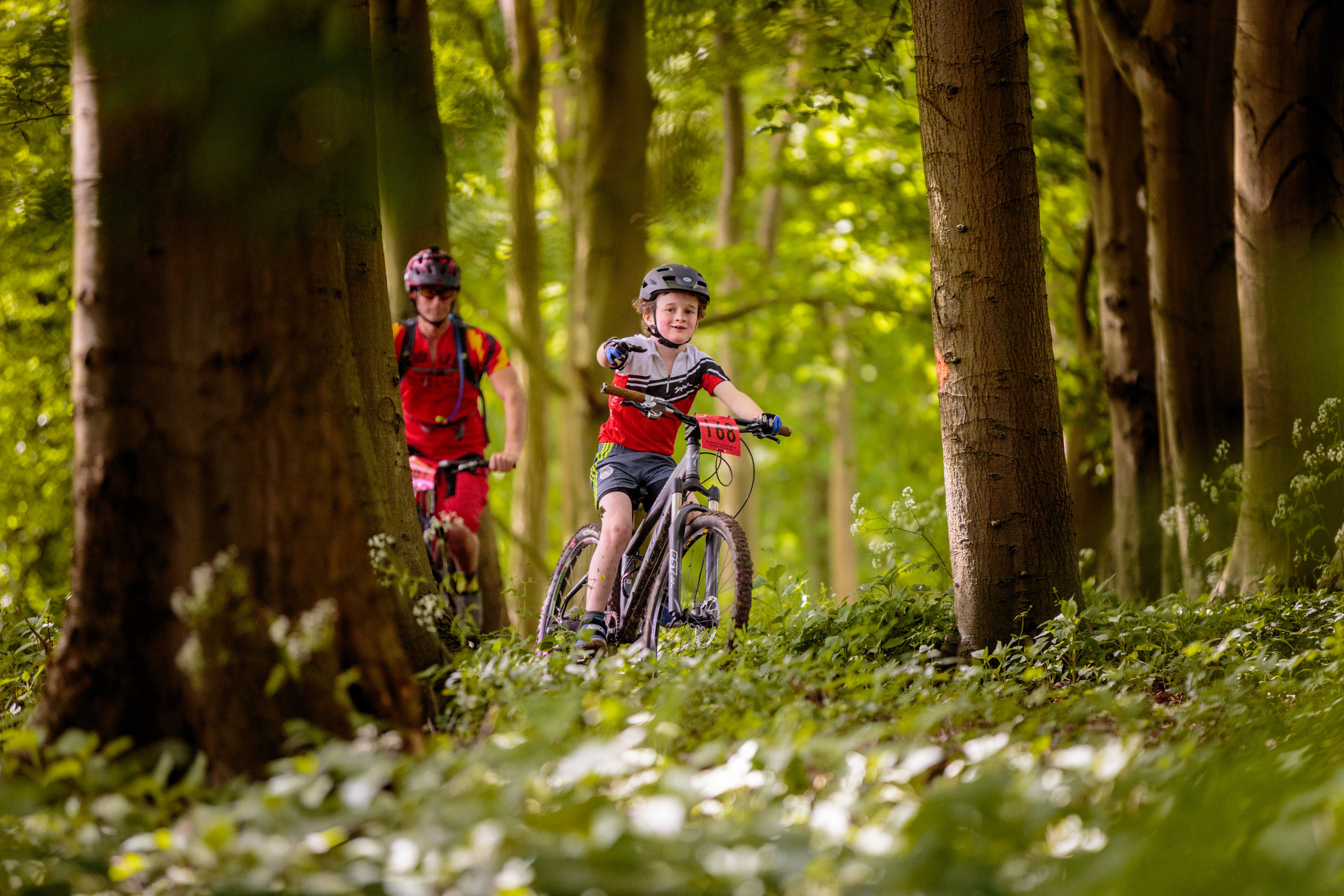 Young Mountain Bikers Waving