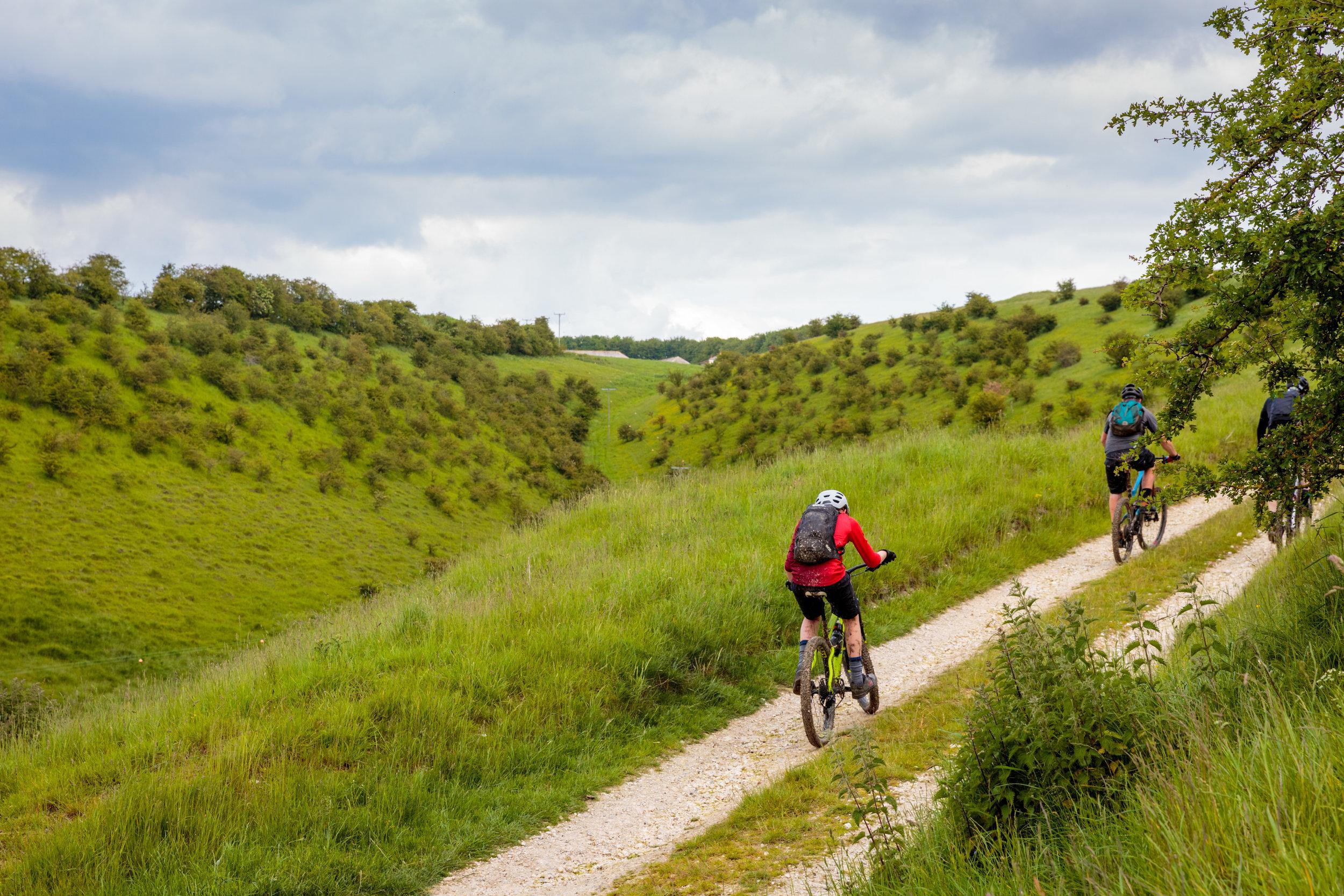 Mountain Biking Uphill in Yorkshire