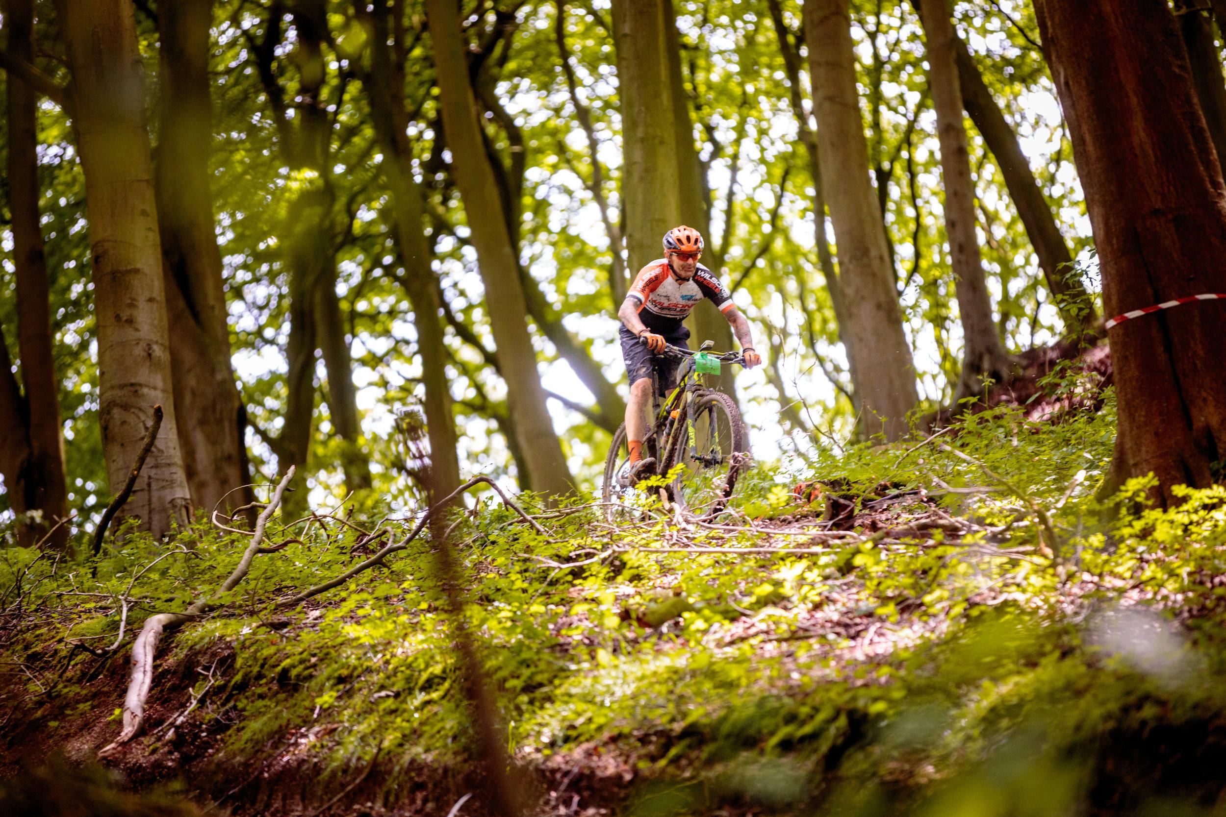 Mountain biking through the woods in Yorkshire