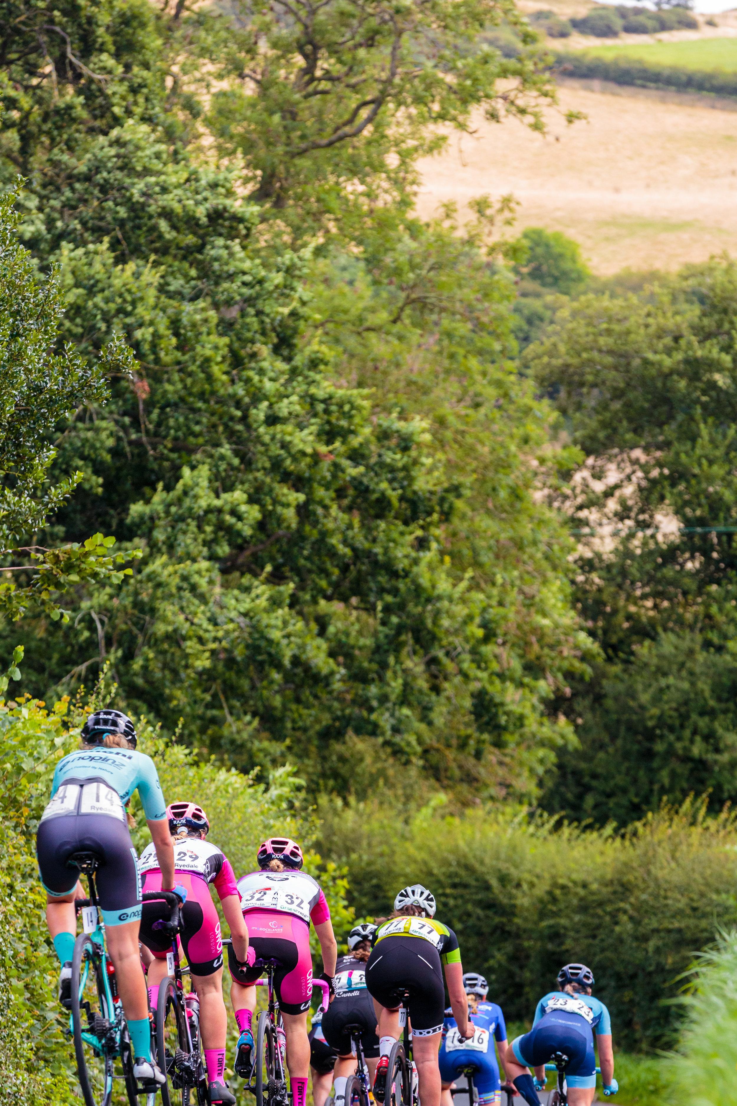 Women Cyclists Descending