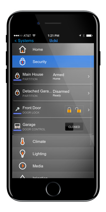 Security - Make the most out of your security system.  Get notifications when someone comes in or rings the doorbell.  Check in on your home from anywhere in the world, and even see what's going on with integrated surveillance.  And when the alarm does go off, make sure it's noticed, have the alarm ring through every speaker, and strobe with every light, so there's no way someone could miss it.