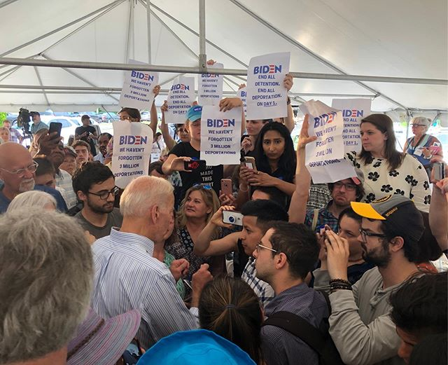 Today we, alongside @cosecha_harvest, confronted Joe Biden about his shameful immigration record. We need a democratic nominee who can win support from the millions of people who are outraged over ICE's imprisonment, deportation, and separation of immigrants and immigrant families.