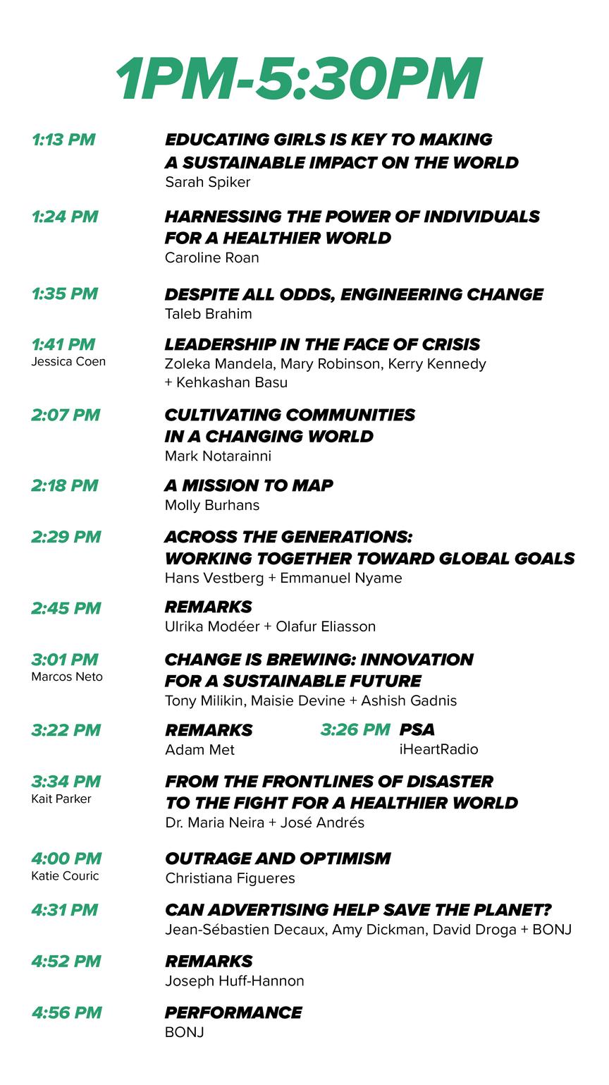 Speaker Schedule at Social Good Summit.