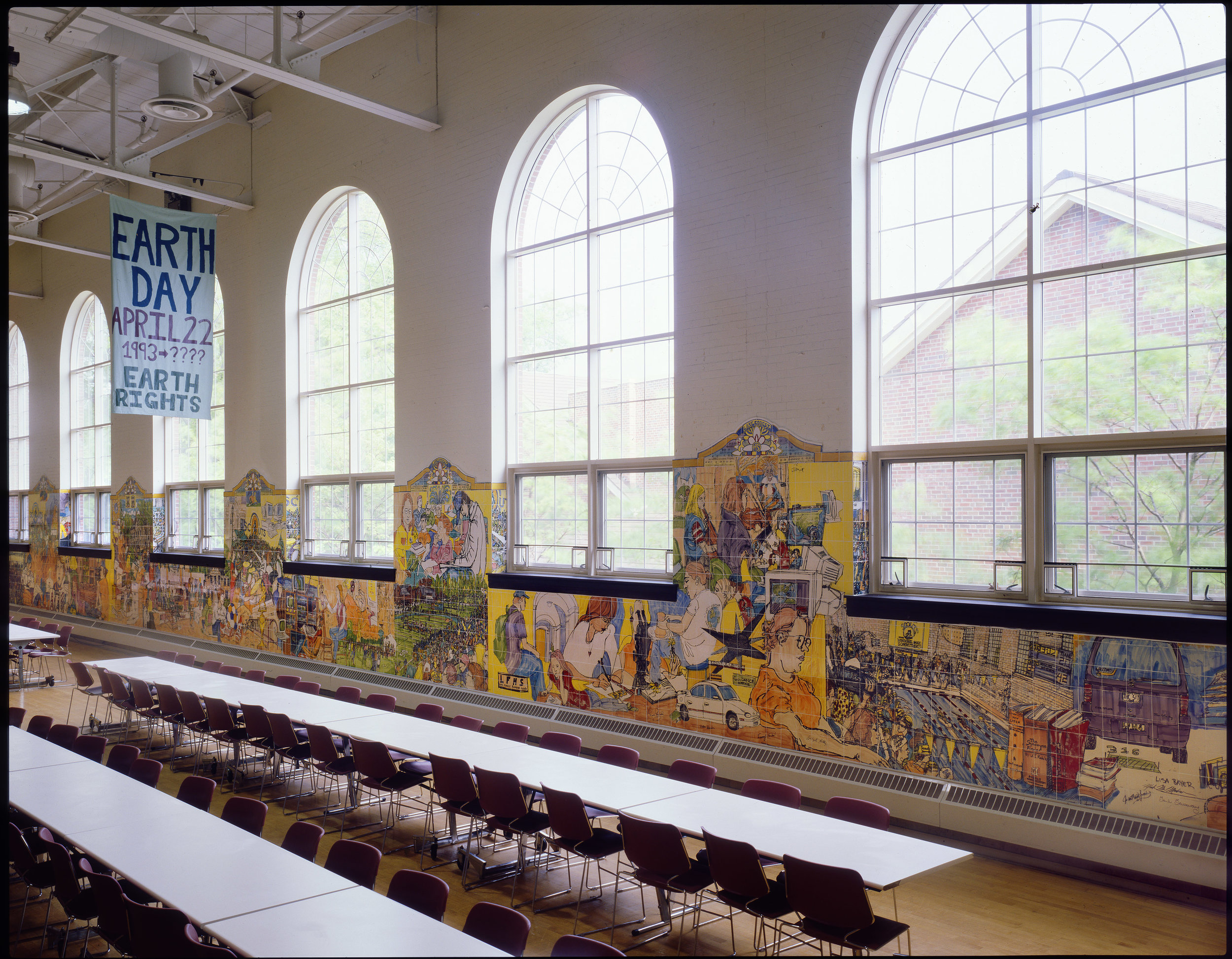 Lake Forest High School Mural, Lake Forest, Illinois - 8' by125' Ceramic Tile  One hundred students helped with the mural and it took two and half years to complete.