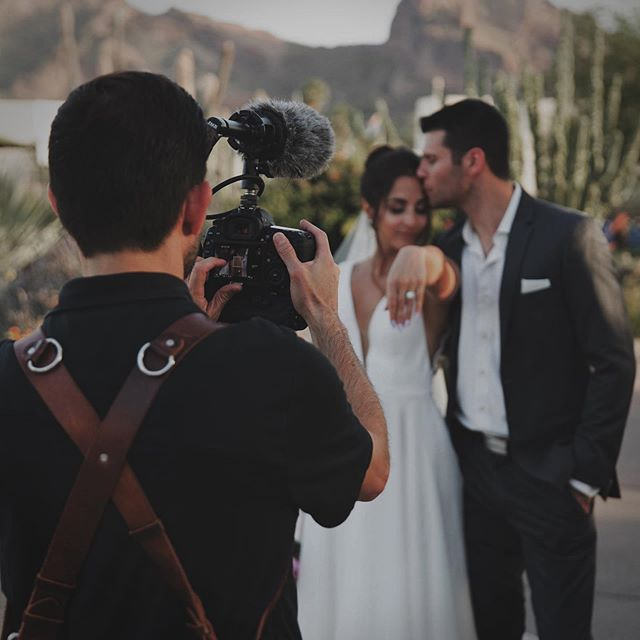 Thanks @annierandallphoto for the behind the scenes shot! 🎥 @stellarevents #weddingvideo #weddingfilm #azwedding #sandiegowedding