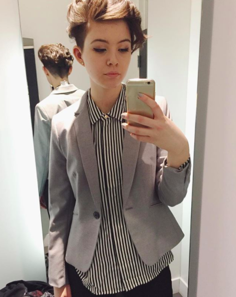 My outfit for my first term of co-op interviews in Winter 2016. Shirt and blazer from H&M, dress pants from Suzy Shier. I felt confident, which made me more confident in my interviews.