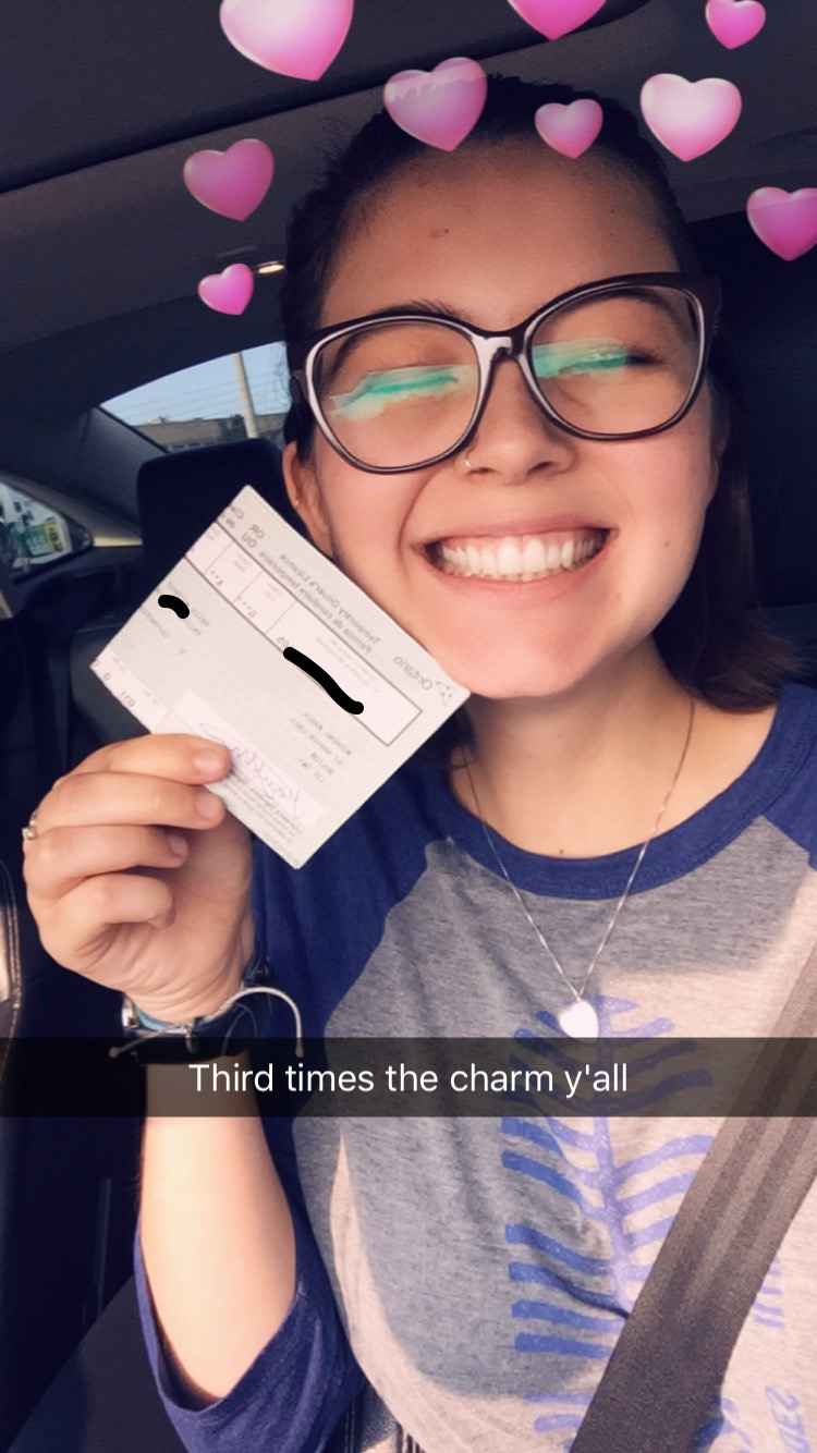Me, ecstatic that I will not have to pay another $90 to try to take my driving test again. September 2017.