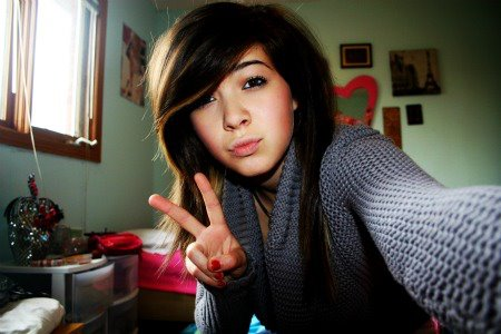 Peace sign and duck face - 'nuff said. (grade 10)