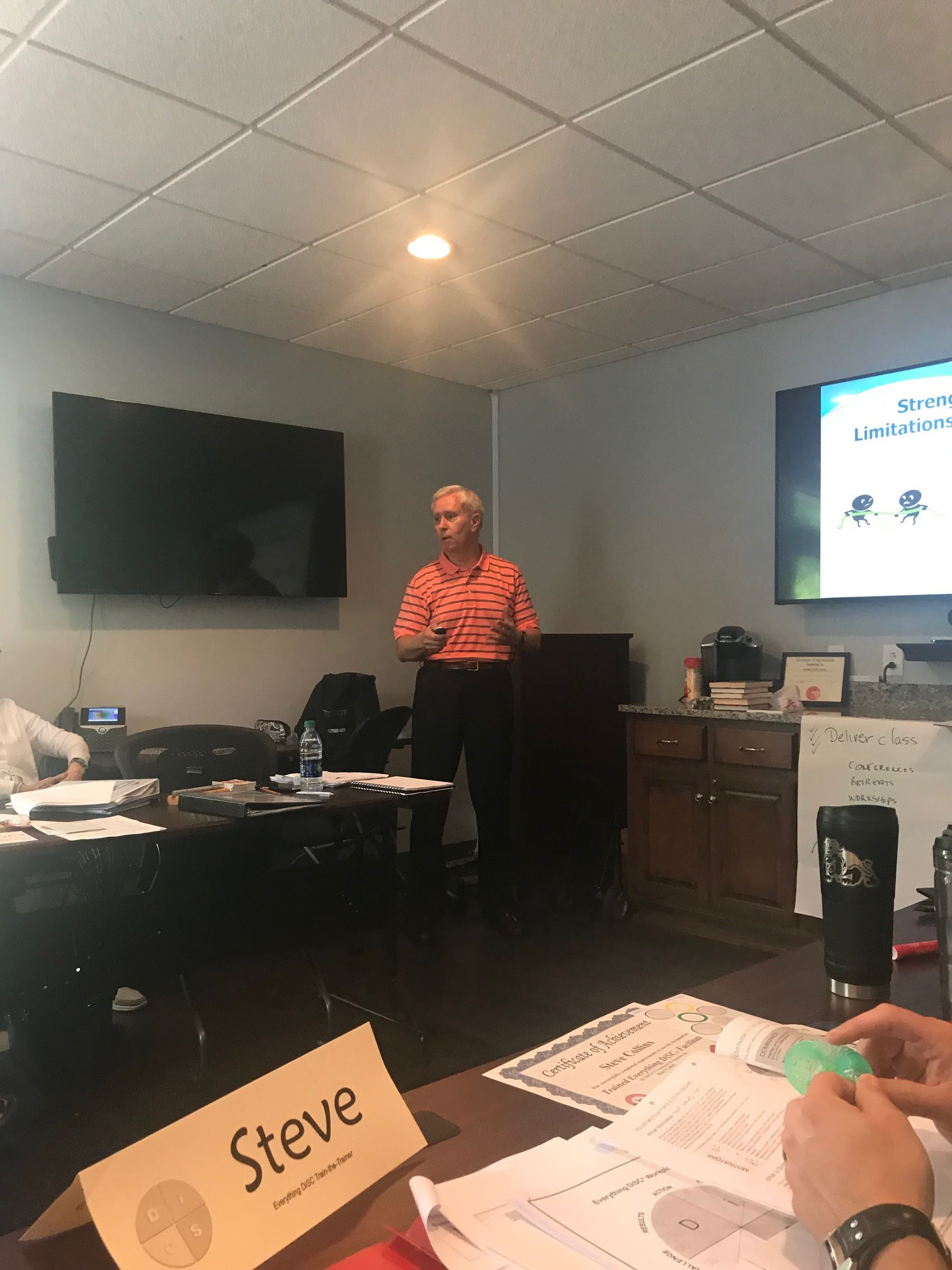 Paul facilitating  Everything DiSC Workplace Training at a train-the-trainer session at Johnson Health Center, 05.09.19