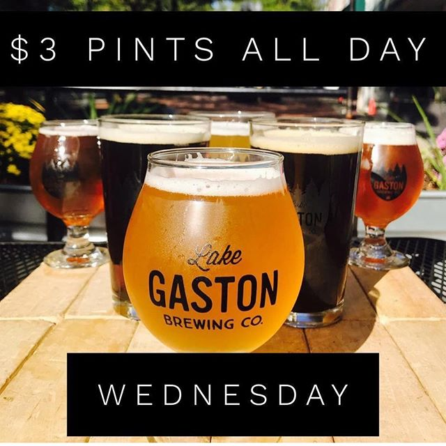 Stretch you brewery experience down to Lake Gaston Brewing Co where they have $3 pints all day on Wednesdays!  #trianglebeer
