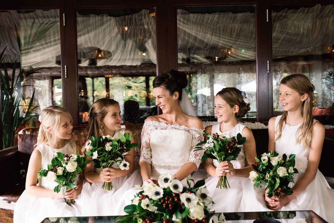 Bride and Paige Girls at The Crazy Bear Wedding Venue