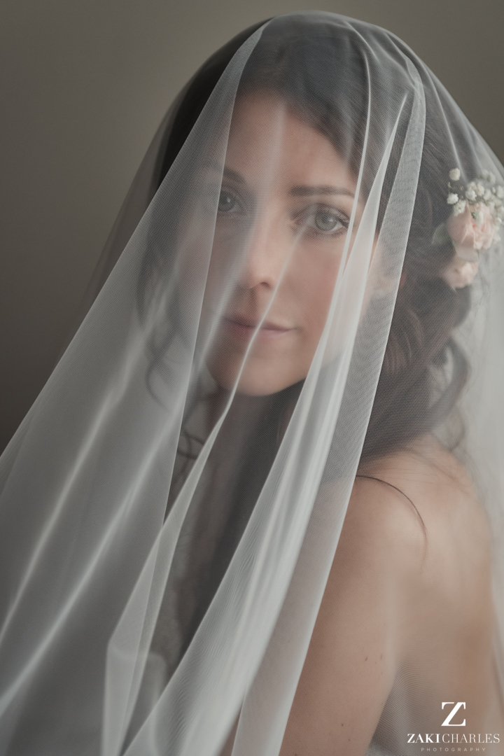 Portrait of bride with veil covering her face