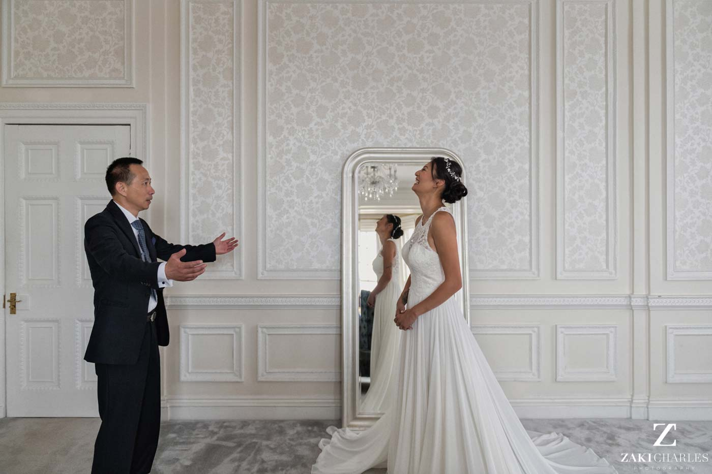 Father-daughter first look wedding Hedsor House photo 3