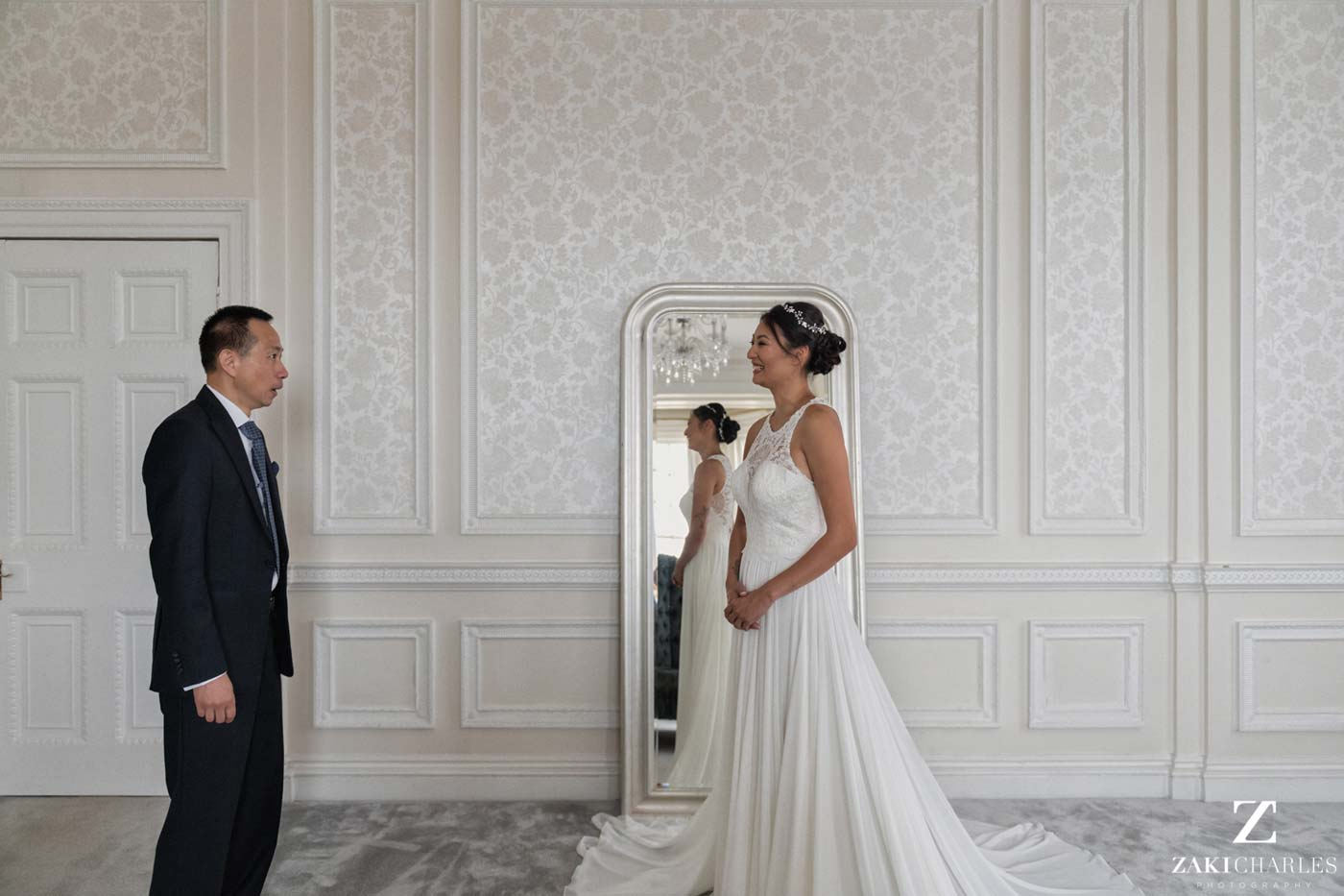 Father-daughter first look wedding Hedsor House photo 2