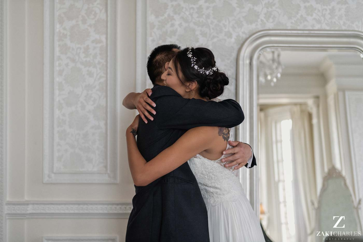Father-daughter first look wedding Hedsor House photo 4