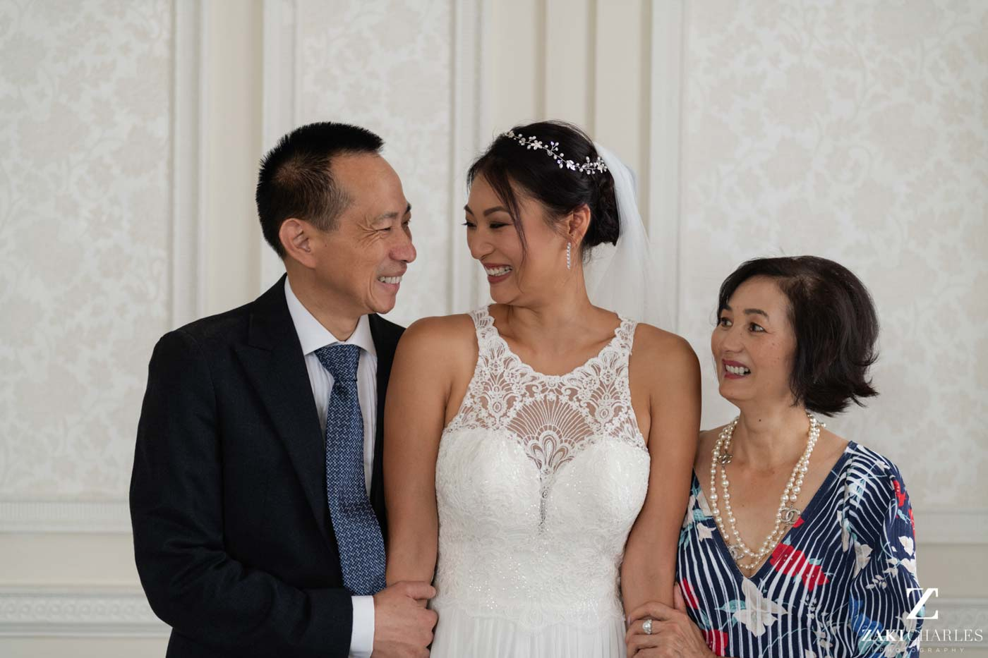Portrait of bride with her parents at Hedsor House 1