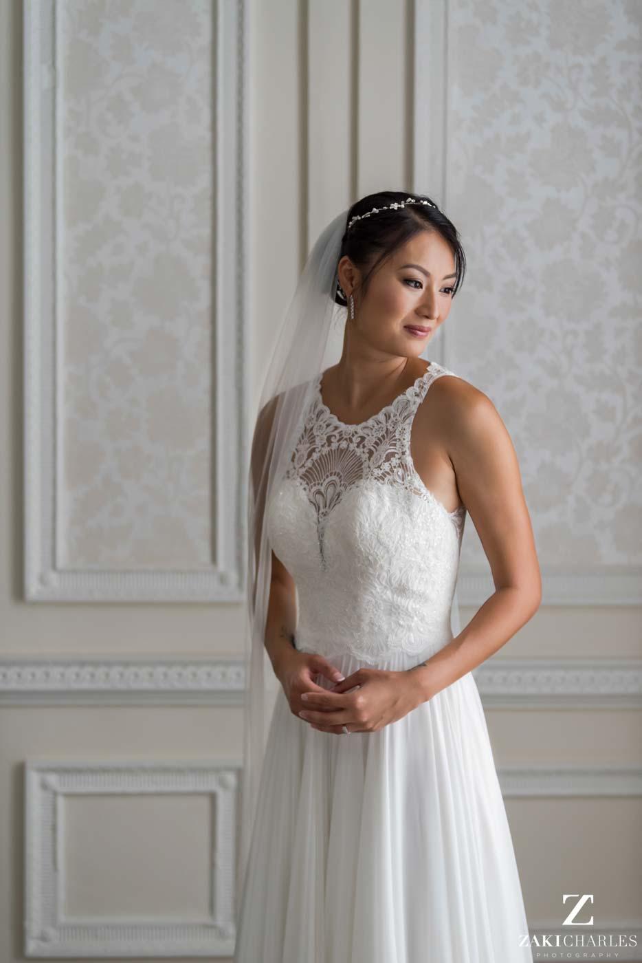 Natural light portrait of bride Candy at Hedsor House