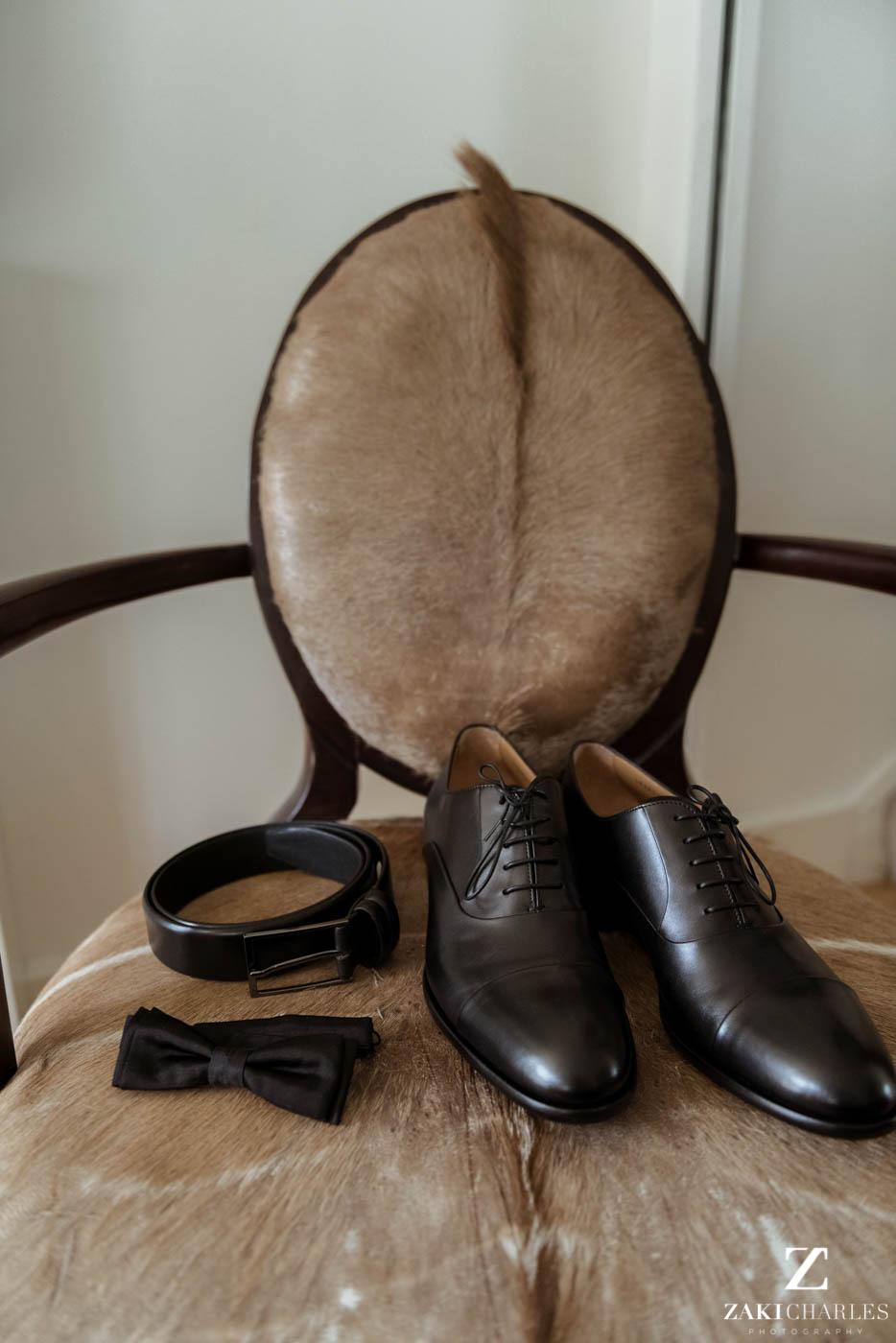 Details of the groom at Marriott Hotel Regents Park wedding venue