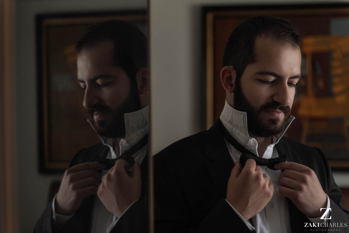 Natural light portrait of groom preperation at Marriott Hotel Regents Park 1