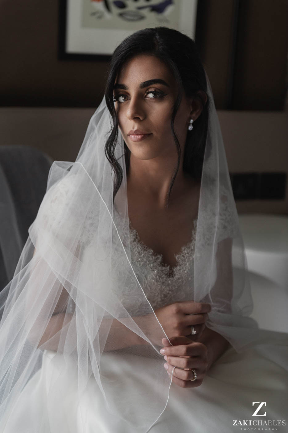 Natural light portrait of the bride at Marriott Hotel Regents Park 1