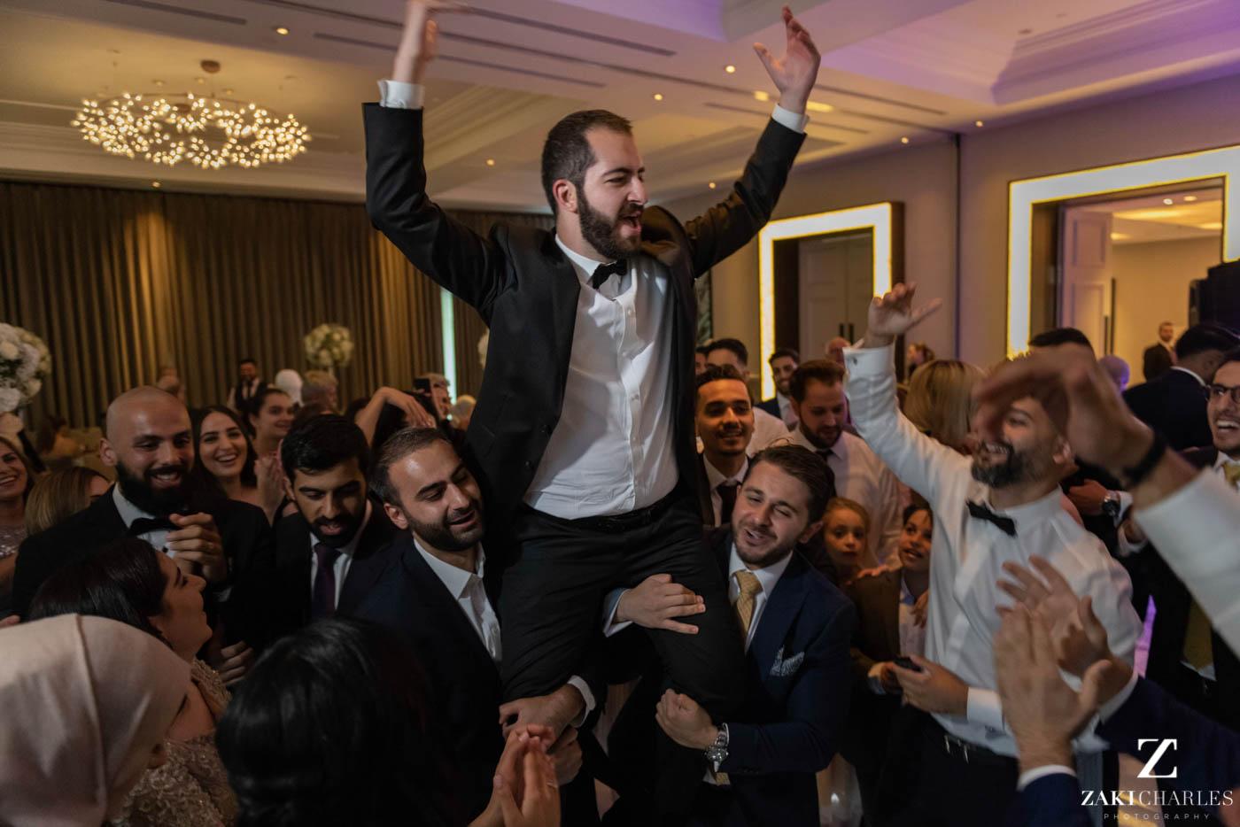 Guests dancing at Marriott Hotel Regents Park Wedding Venue 9