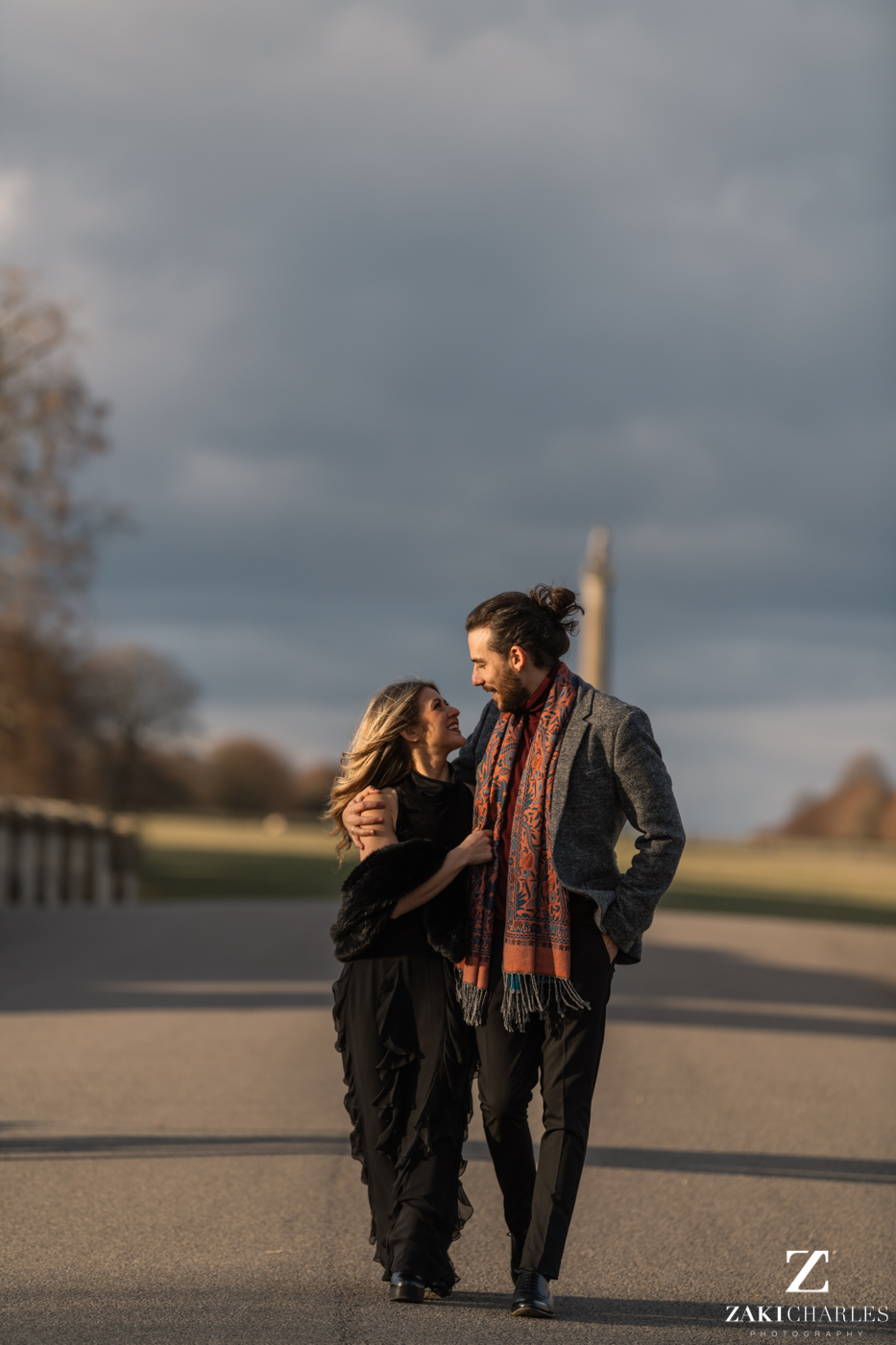 Blenheim Palace Engagement Session, AJ and Yannis walking, natural light 3