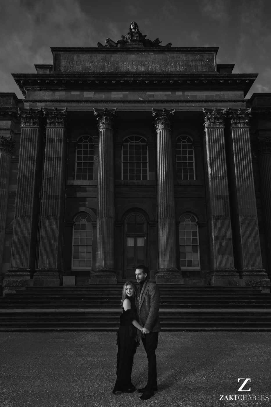 Blenheim Palace Engagement Session, AJ and Yannis, black and white, fine art photography