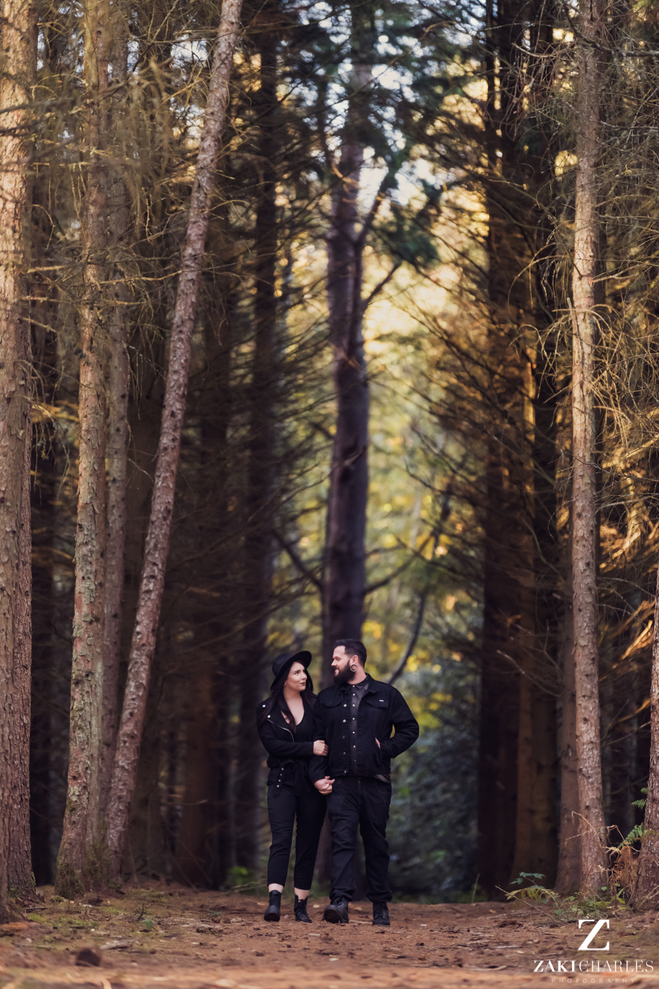Black Park Engagement Session, Kirsty & Alex holding hands 2