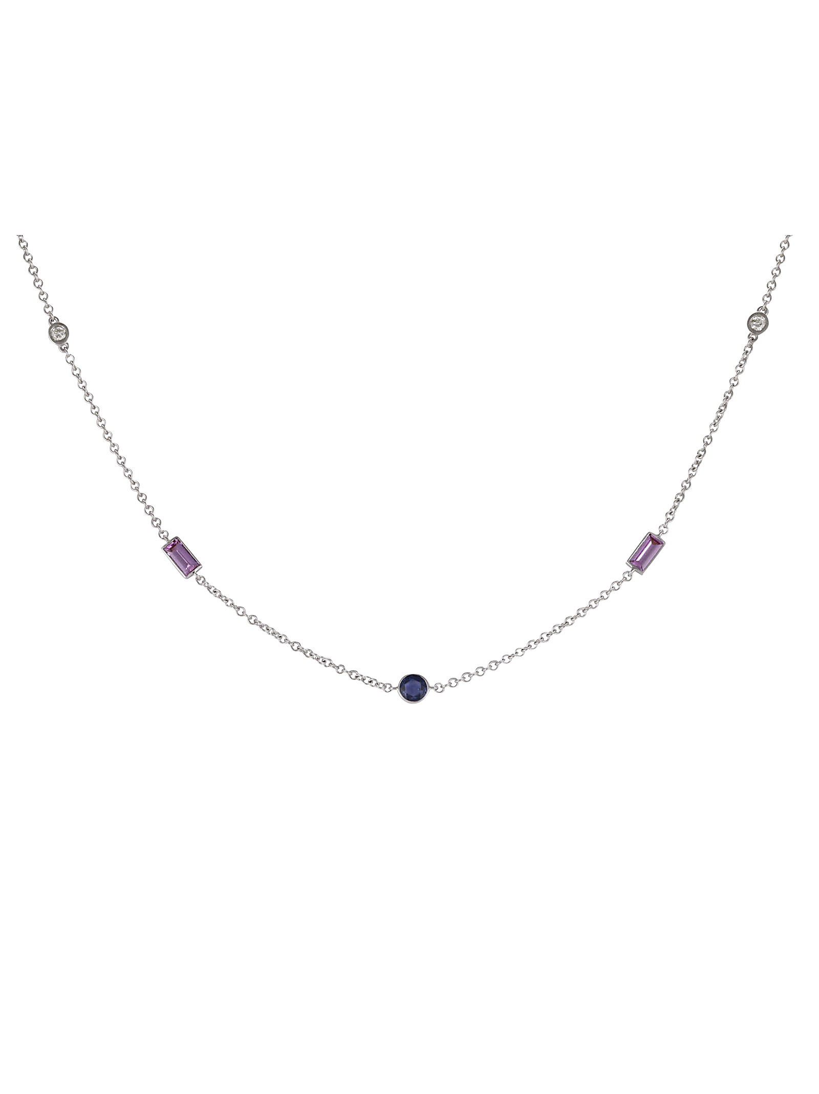 Blue and Pink Sapphire Necklace