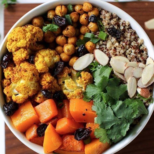 That's balance. .  #chickpea #quinoa #cauliflower #curry #almonds