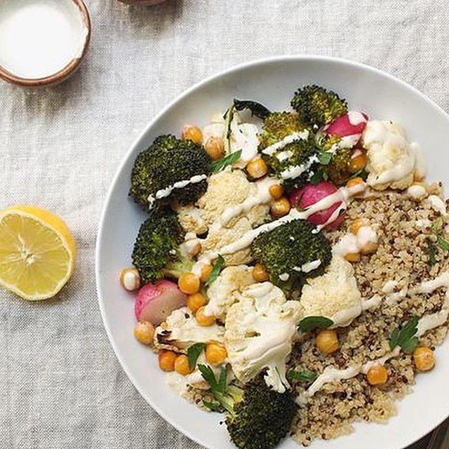 Quinoa, broccoli, chickpeas, and more.