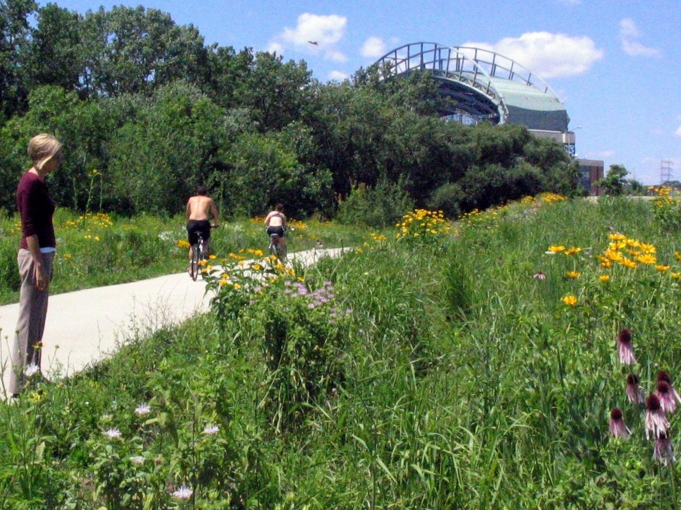 Dawn-bikes in prairie near stadium.JPG