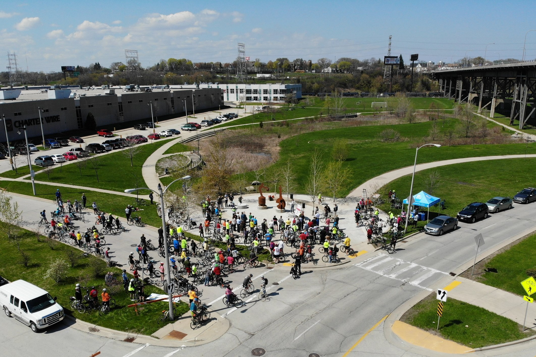 The monument will be located near the corner of West Canal Street and West Milwaukee Road where the Milwaukee Road Rail Shops' chimneys once stood. Now along the Hank Aaron State Trail, it is a highly visible area with hikers, joggers, cyclists, and between 6,000 to 7,700 cars passing by daily. Photo: Chris Maertz