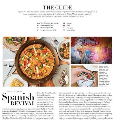 LA FOOD & DRINK GUIDE: SPANISH REVIVAL [PRINT]     - Angeleno, December 2018