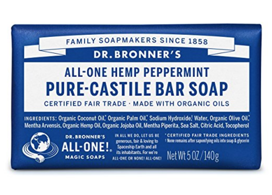 Dr. Bronner's Peppermint Soap - Rachel discovered this great soap when she was struggling with itchy skin. The soothing peppermint takes the edge off and calms the itch. Just be careful not to leave it on your lady parts too long...ahem...it's a wee bit pepperminty!