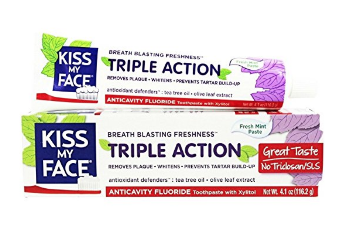 Kiss My Face Toothpaste - My natural dentist recommended this toothpaste. Fluoride free, and easy on sensitive gums and teeth because the grit factor is low.