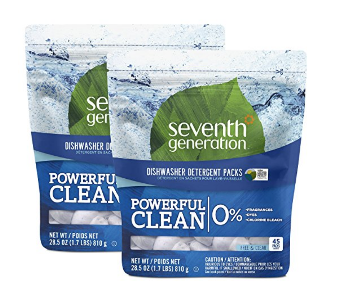 Seventh Generation Dishwashing Pods - These work great and don't contain all the toxins typical of mainstream dishwashing pods. (If you are using Cascade or Finish...be careful. They have a lot of stuff that's currently considered pretty toxic to humans.) These pods are also available at most Target stores.