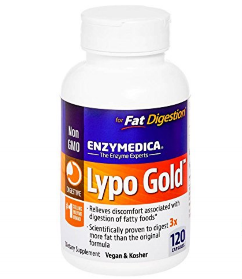 Lypo-Gold Digestive Ezymes - This particular supplement assists in fat digestion. If you have gall bladder issues or just need a boost to aid fat digestion, this is a solid option.