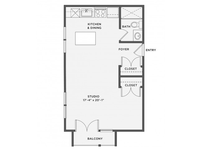 THE FORD - Studio / 1 bathroomRent: Call for pricingDeposit: 1 Month's RentSq. Feet: Approximately 560