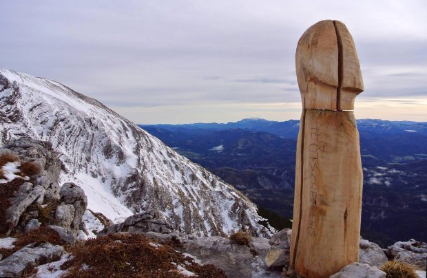 The mysterious Austrian mountain penis.  https://gearjunkie.com/mysterious-wood-penis-alps