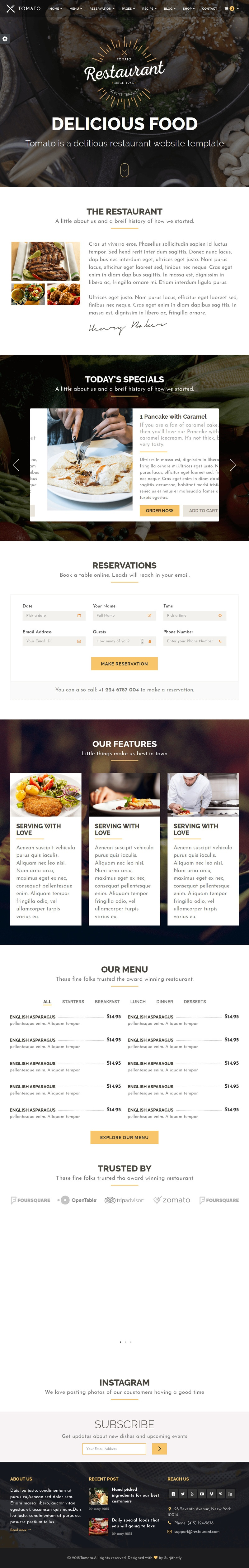 Restaurant Web Design Template by SERP Matrix