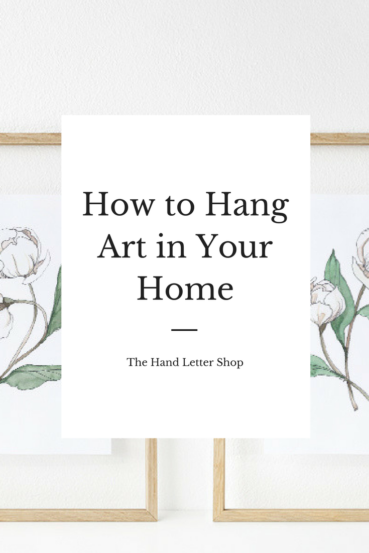 Pin and click to read a gallery wall guide and how to hang artwork by #thehandlettershop