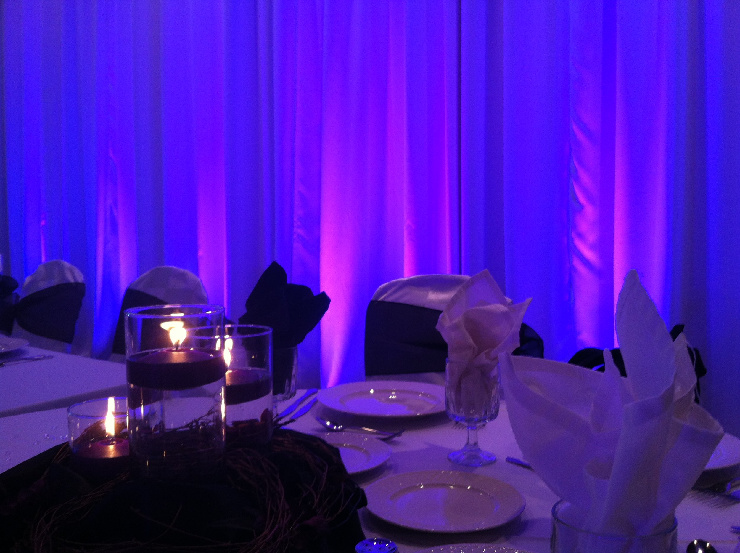 South Bend Purple Uplighting on drapery