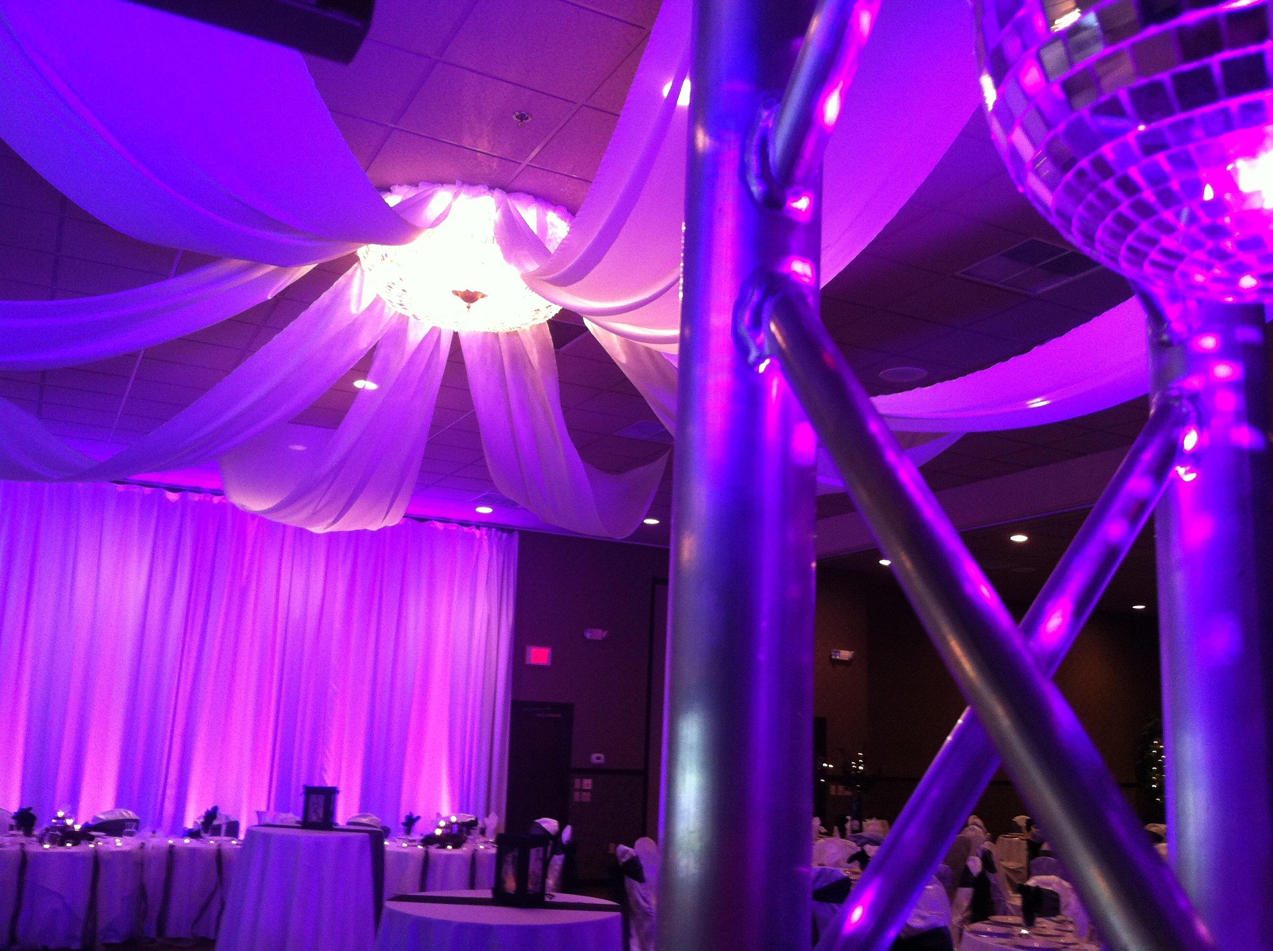 Mishawaka purple uplighting drapery