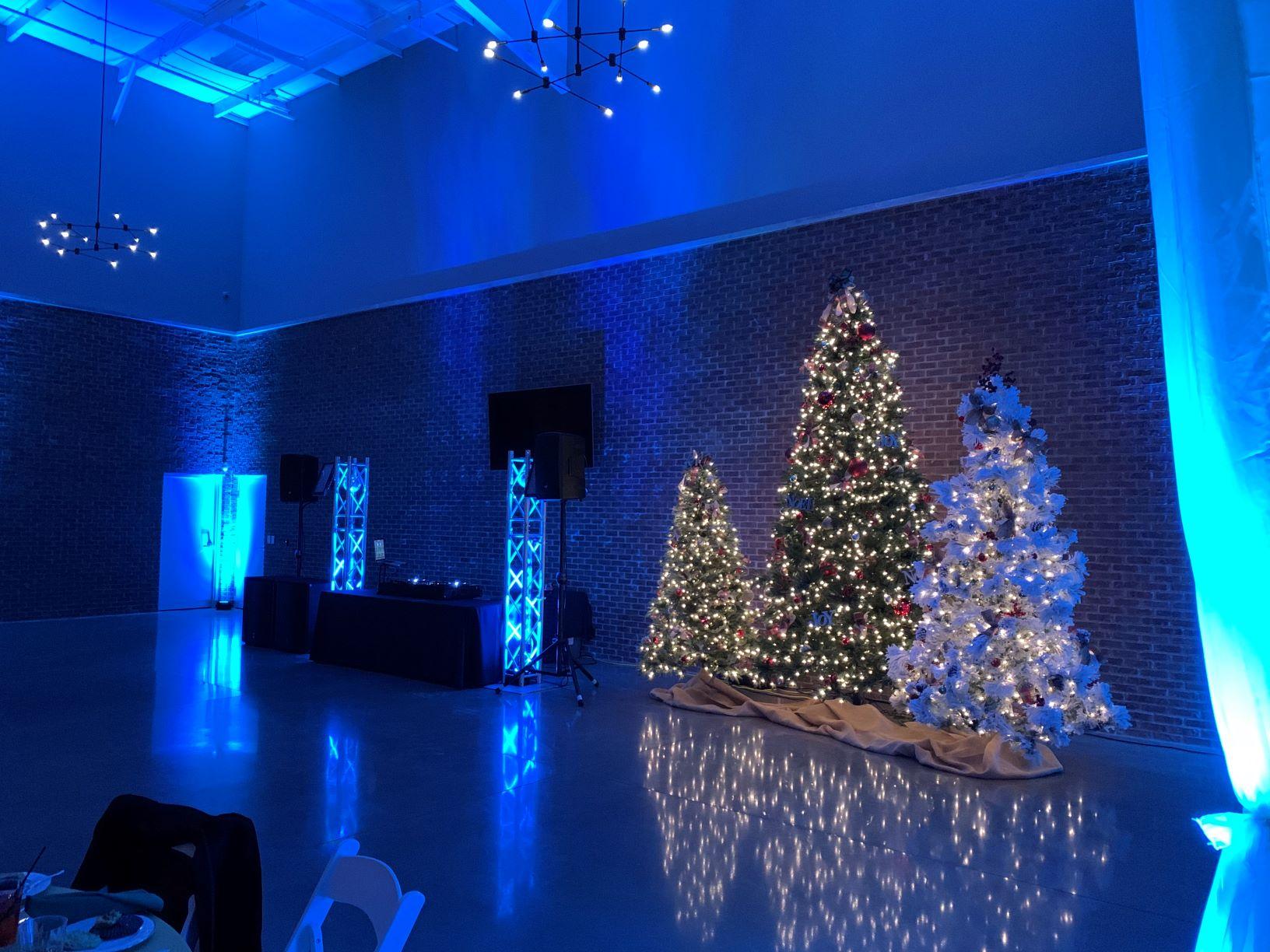 Elkhart Center 615 Ice Blue Uplighting