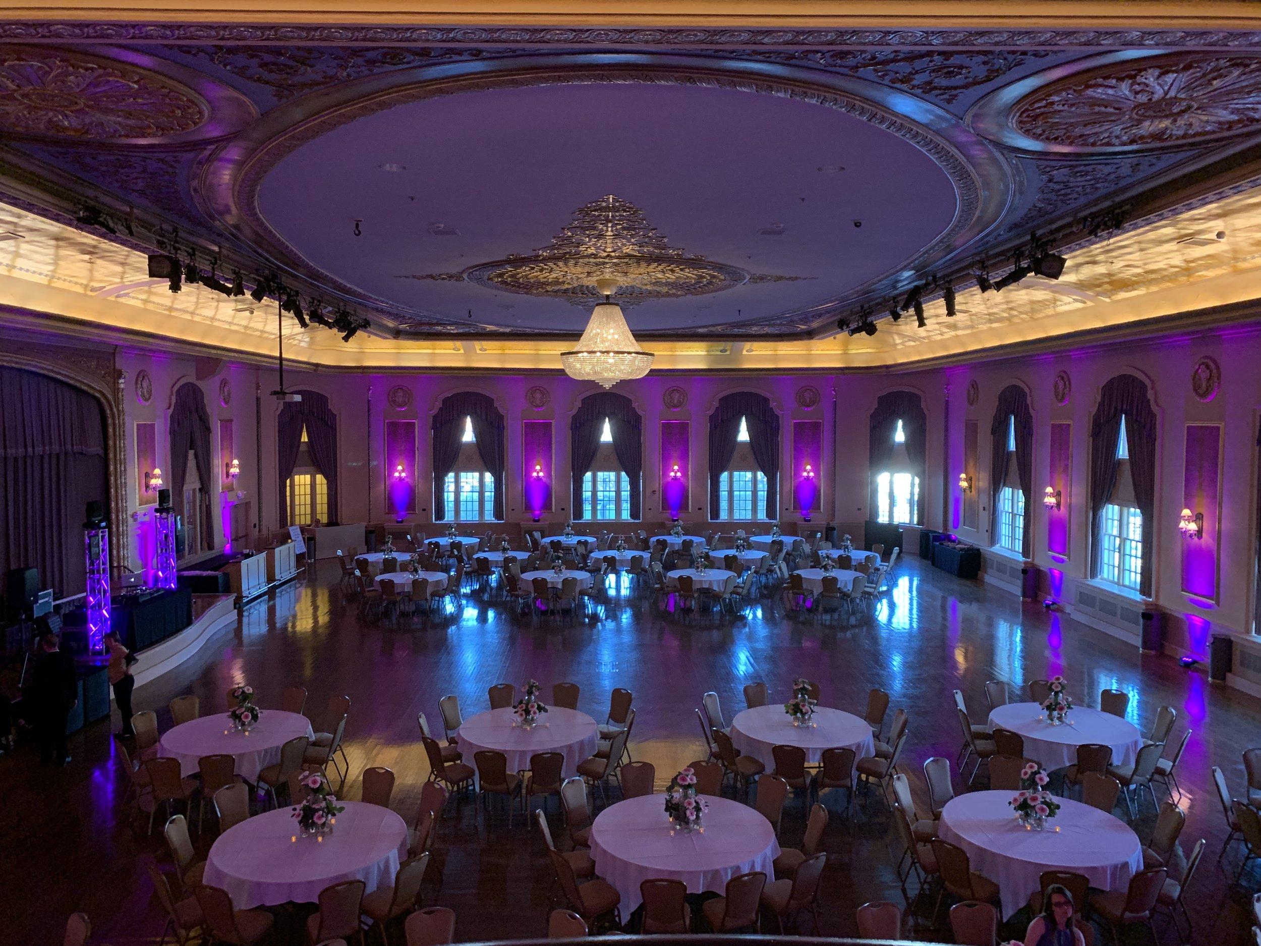 Palais Royale Ballroom with purple uplighting
