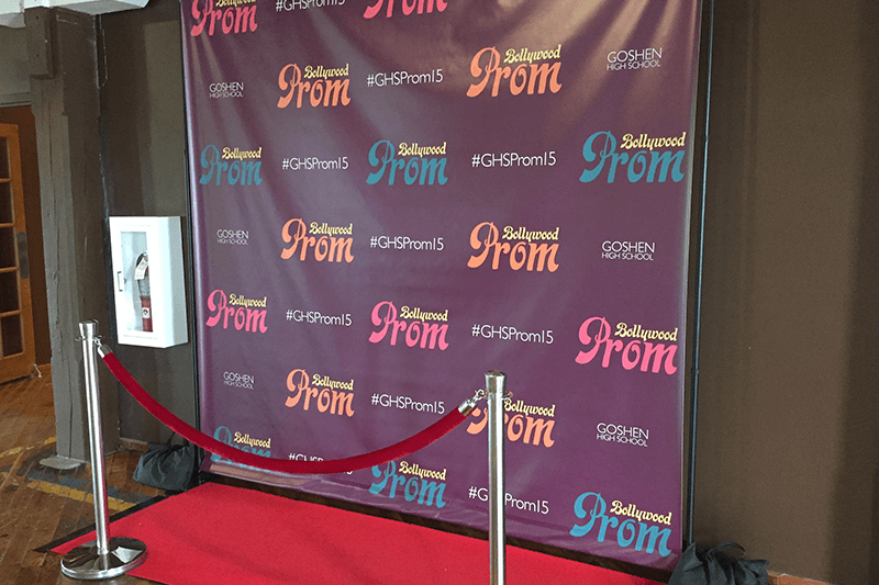 Custom designed prom step and repeat photo backdrop in Indiana
