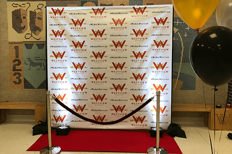 High school formal dance step and repeat banner