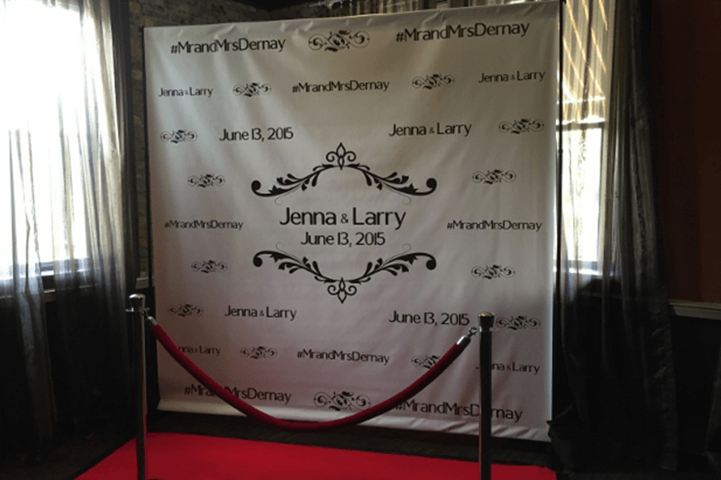 Step and repeat wedding reception custom banner in South Bend Indiana