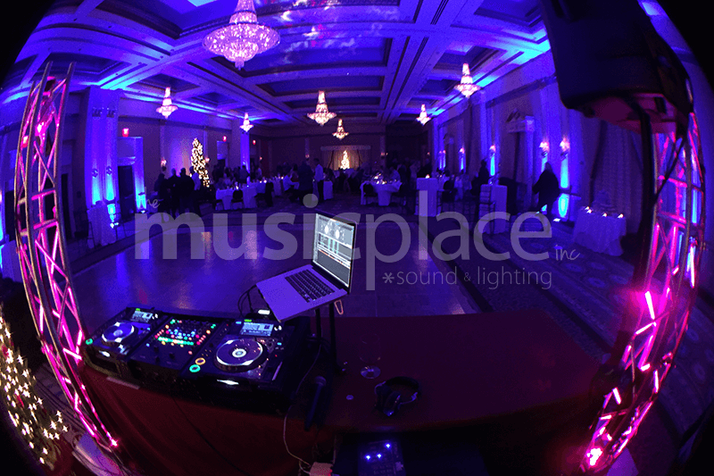 Cobalt blue dj uplighting at Lerner Theatre Crystal Ballroom in Elkhart Indiana